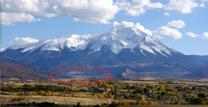 Spanish Peaks, CO, our local circled